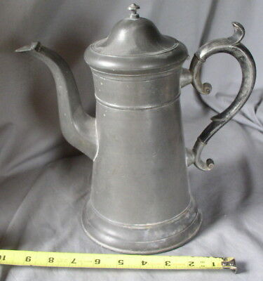 Antique American Pewter Lighthouse Coffee pot Freeman Porter Westbrook ME 19TH C