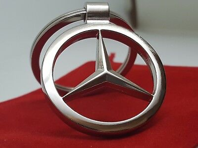 Mercedes Benz Car Logo Metal Keyring key chain with Red Velvet Gift Pouch [S1C]