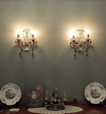 Antique pair Italian macaroni gilt tole rock crystal wall sconce amethyst drops