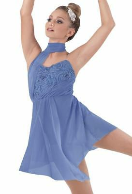 Dance Costume Medium Adult Blue Gold Lyrical Contemporary Solo Competition