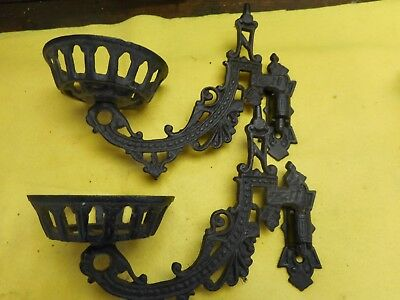 2 Vintage Cast Iron Wall Sconce Candle Lamp Lantern Holder Hanger