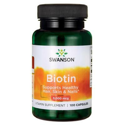 Swanson Biotin - 5mg (5000mcg) 100 Capsules for Hair, Skin & Nails