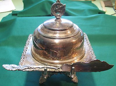 Regent Covered Butter Cheese Dish w/ Spreader ~ Quadruple Silver Plate ~ Antique