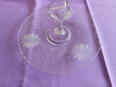 Vintage Tidbit Tray Etched Clear Glass Floral Pattern Center Handle Serving