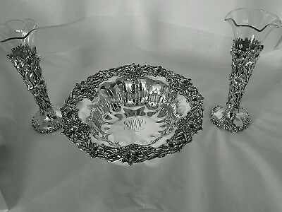 Sterling silver Lily pattern Whiting Bailey Banks and Biddle Bowl & Vases