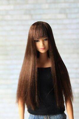 Brown wig for Barbie doll 4 inch