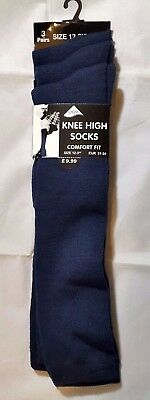 Girls 3 Pack Plain Navy Knee High Socks Size 12-3.5