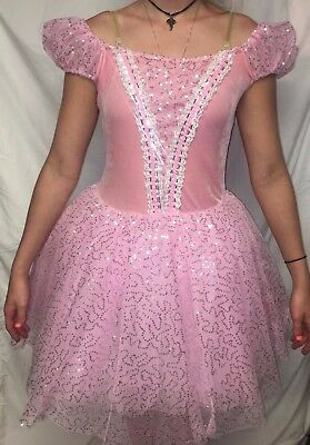 pink sequin dress silver and white dance costume 2X large child