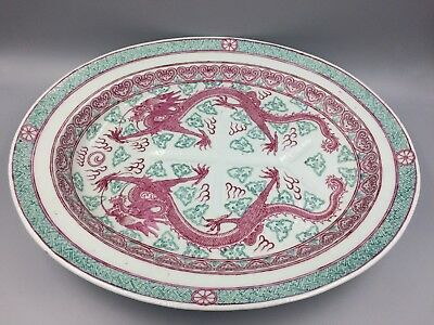 Chinese Antique Large Five Clawed Dragon Platter Qing or Republic