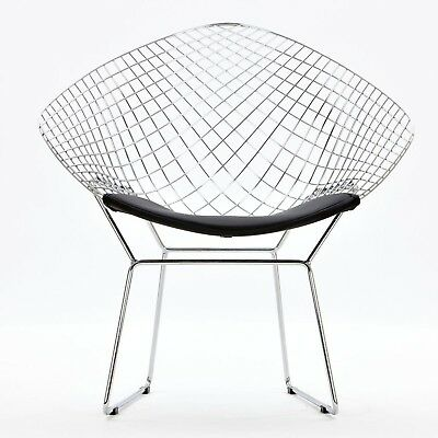 Bertoian Diamond Lounge Chair- Chromed Steel Wire Frame Lounge Arm Chair with...