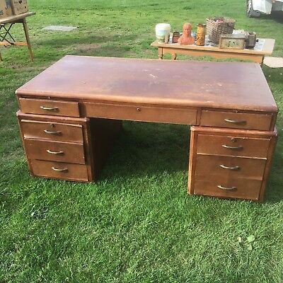 Danish 1950s Oak Veneer Desk For Restoration Quality