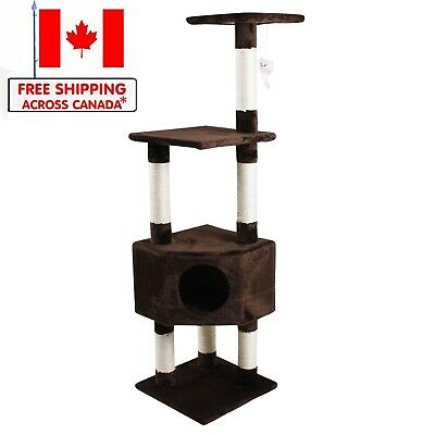 "Cat Tree 51"" Cat Condo Tower Scratching Post Multi Level Kitten Furniture"
