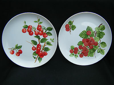 "1975 Seymour Mann Cake Lunch Salad Set of Two 8"" Plates Cherry & Raspberry"