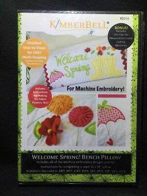 Kimberbell Designs Welcome Spring! Bench Pillow Embroidery CD KD516