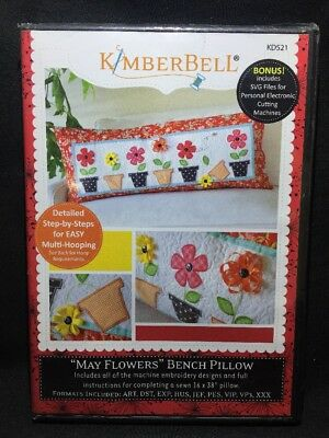 "Kimberbell Designs ""MAY FLOWERS"" Bench Pillow Embroidery CD KD521"