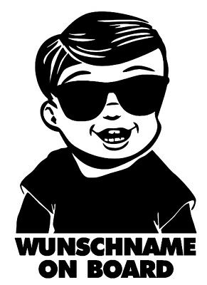 1x Aufkleber WUNSCHNAME ON BOARD Sticker Hangover Baby Auto Kind fährt mit FUNxm