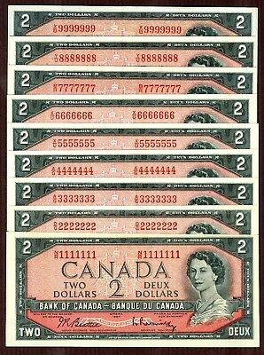 $2 1954 Bank of Canada 9 note set, serial #1111111 - 9999999 Solid S/N set
