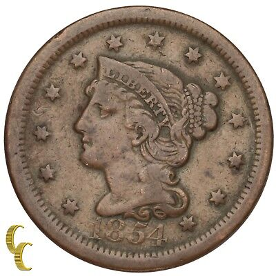 1854 Braided Hair Large Cent 1C Penny (Fine+, F+ Condition)