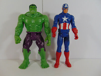 MARVEL 12 Inch Incredible Hulk and Captain Amarica Action Figures LOT OF 2