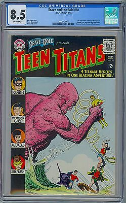 BRAVE AND THE BOLD #60 CGC 8.5 VF+ OW 1st New WONDER GIRL DONNA TROY TEEN TITANS