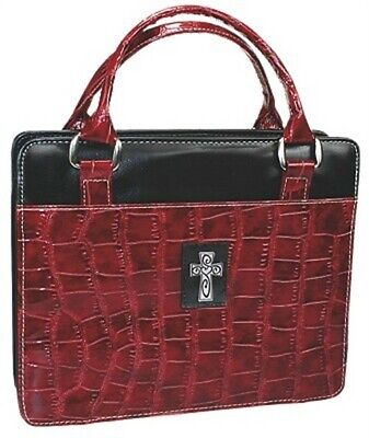 Purse with Silver Cross Crock Embossed Large Burgandy Bible Cover