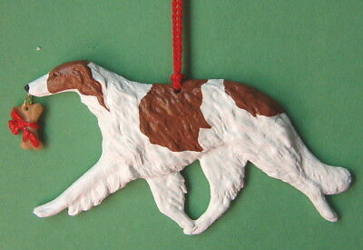 Borzoi Hound  w/ bone charm-red & white-Artist sculpted Dog Breed Ornament