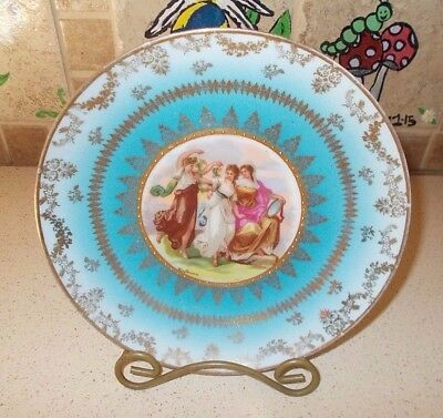 Antique Victoria Carlsbad Austria French Blue Dancing Ladies Plate Gold Haufmann