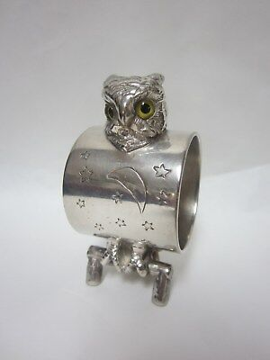 Figural Owl Silver Plate Napkin Ring W/Glass Eyes - Unmarked