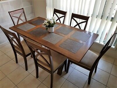 7 PIECE DINING SUITE - Solid Hardwood 6 Chairs - DINING TABLE - DINING