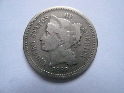 1869 3 Cent Nickel - Free Shipping !!  #508