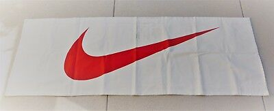 """Double Sided Red NIKE SWOOSH Ivory Canvas Banner Sign 28"""" x 82"""""""