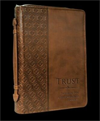 """Trust"" Brown Tile Design Bible/Book Cover - Proverbs 3:5"