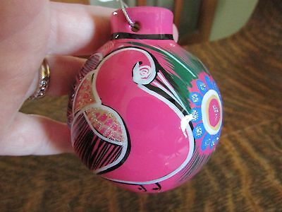 Art Pottery Handpainted Pink Clay Christmas Ornament W/ Birds Southwest, Nice!
