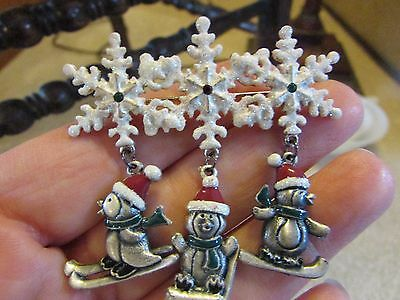 Kc Kenneth Cole Pewter Christmas Snowflakes With Dangling Penguins Brooch, Pin
