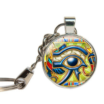 Horus Eye Keychain Glass Cabochon Eye Of Horus Key Ring Dome Egyptian Key Holder