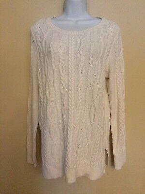 NEW $59 Ann Taylor LOFT Beautiful White Sweater Cable Design Size Medium NWT