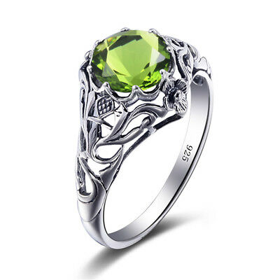 925 Sterling Silver Rings Peridot Crystal Ring for Women Men Birthday Jewelry