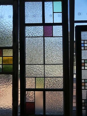 Stained glass leadlight window in timber frame