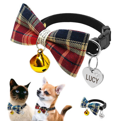 Small Dog Bow Tie Collar & Tag Disc Engraved Pet Puppy Cat Grid Necktie Grooming