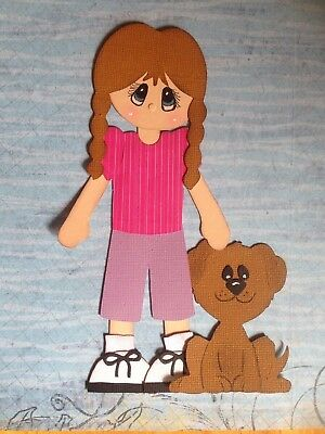 Handcrafted Little Girl With Dog Paper Piecing - Acid Free - Scrapbooking