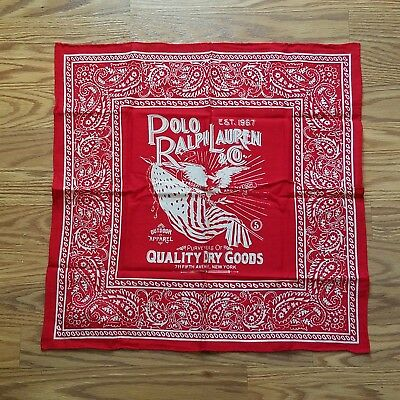 Polo Ralph Lauren Red/White 100% Cotton Scarf Bandana Brand New With Tag