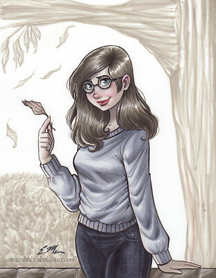 Original Cute Fall Autumn Girl Drawing Art Pin-Up Copic Marker Eric Matos/EM