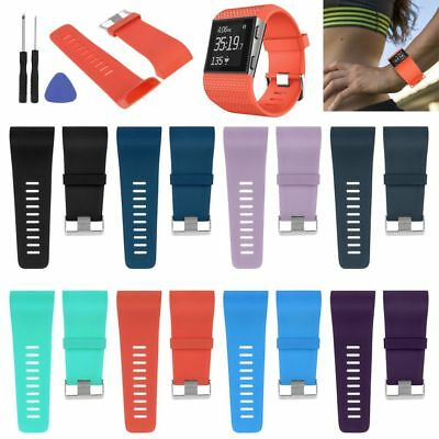 Silicone Replacement Sport Watch Wrist Band Strap Tool Bracelet For Fitbit Surge