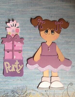 Handcrafted Little Party Girl With Presents Paper Piecing - Scrapbooking