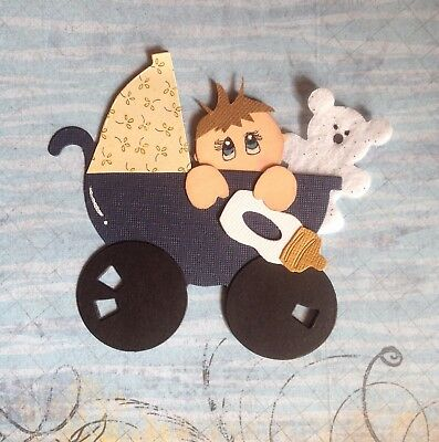 Handcrafted Baby Boy In Pram With Teddy Paper Piecing - Acid Free - Scrapbooking