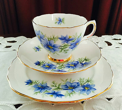 Vintage Colclough England D760 Bone China Blue Floral Trio C1962