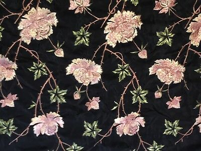 Chinese Silk Embroidery Black Piano Shawl Stole w Rose Flowers Antique Victorian