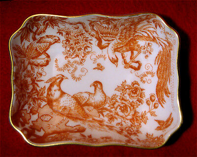 Royal Crown Derby *red Aves* Pin Dish / Tray Gold Trim England