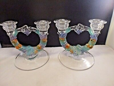 Vintage Pair Indiana Glass Garland Grape & Vine Double Candle Holders