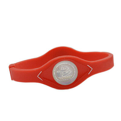 Power Balance Energy Bracelet Silicone Women Boy Girl Wrist Bangle Size L Red